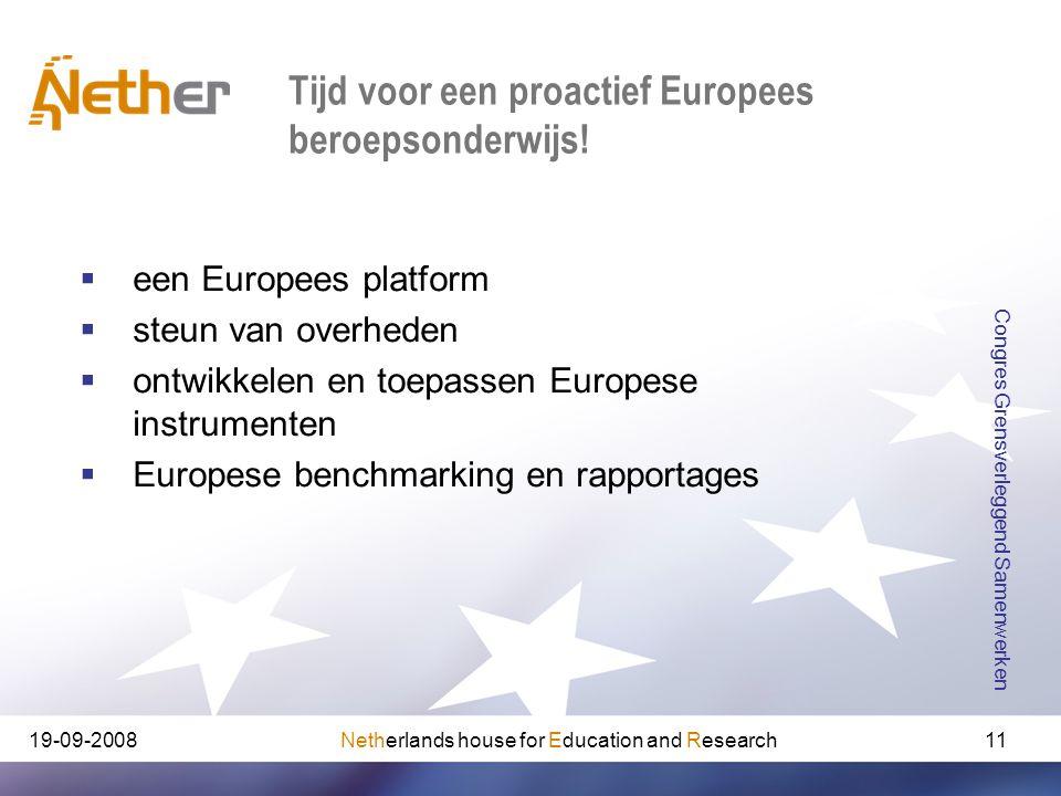 Netherlands house for Education and Research19-09-2008 Congres Grensverleggend Samenwerken 11 Tijd voor een proactief Europees beroepsonderwijs!  een