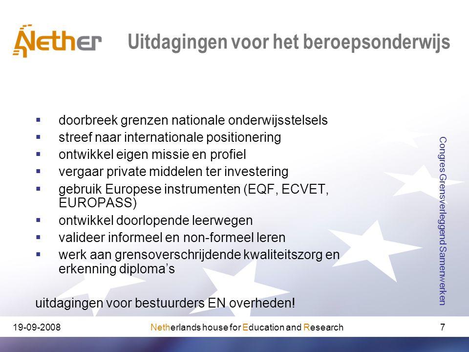 Netherlands house for Education and Research19-09-2008 Congres Grensverleggend Samenwerken 7 Uitdagingen voor het beroepsonderwijs  doorbreek grenzen