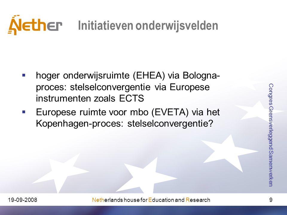 Netherlands house for Education and Research19-09-2008 Congres Grensverleggend Samenwerken 9 Initiatieven onderwijsvelden  hoger onderwijsruimte (EHE