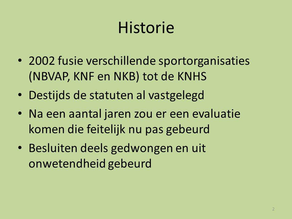 Historie • 2002 fusie verschillende sportorganisaties (NBVAP, KNF en NKB) tot de KNHS • Destijds de statuten al vastgelegd • Na een aantal jaren zou e