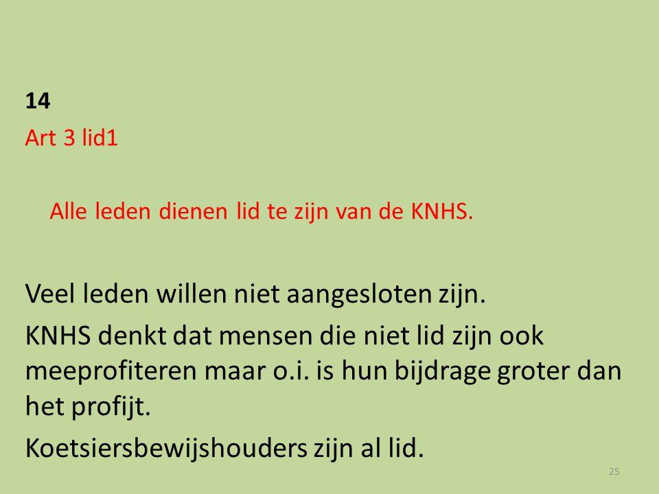14 Art 3 lid1 Alle leden dienen lid te zijn van de KNHS. Veel leden willen niet aangesloten zijn. KNHS denkt dat mensen die niet lid zijn ook meeprofi