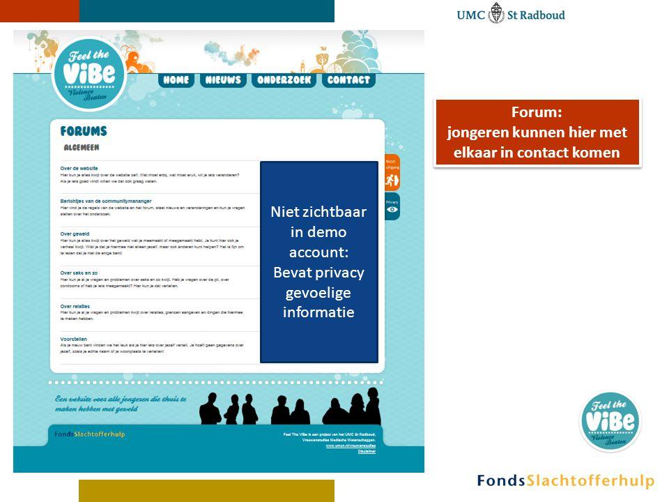 Forum: jongeren kunnen hier met elkaar in contact komen Forum: jongeren kunnen hier met elkaar in contact komen Niet zichtbaar in demo account: Bevat