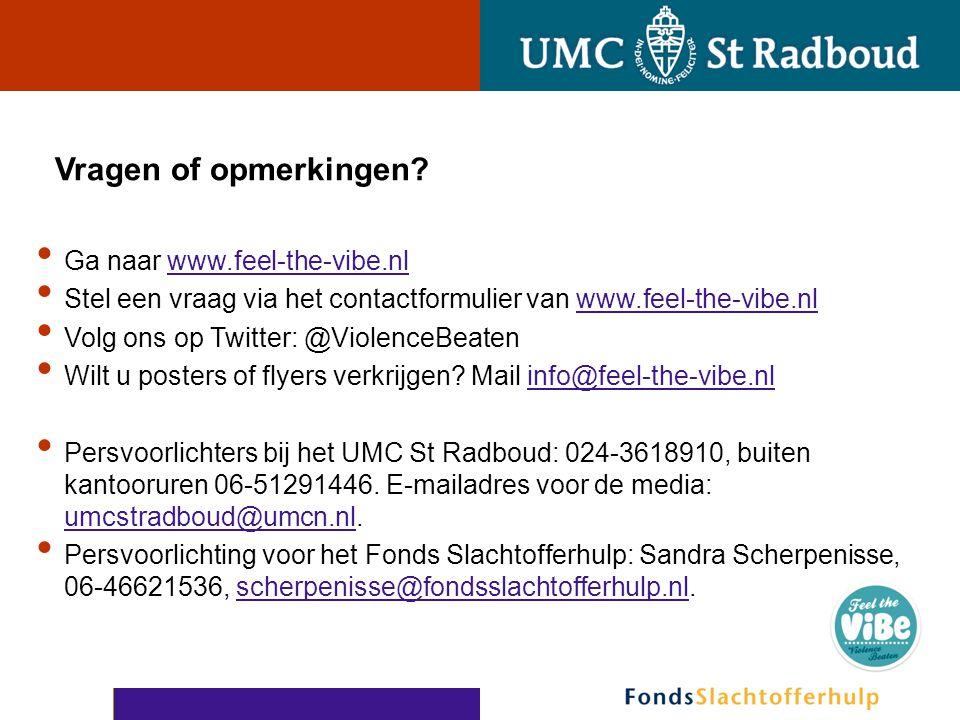 Vragen of opmerkingen? • Ga naar www.feel-the-vibe.nlwww.feel-the-vibe.nl • Stel een vraag via het contactformulier van www.feel-the-vibe.nlwww.feel-t