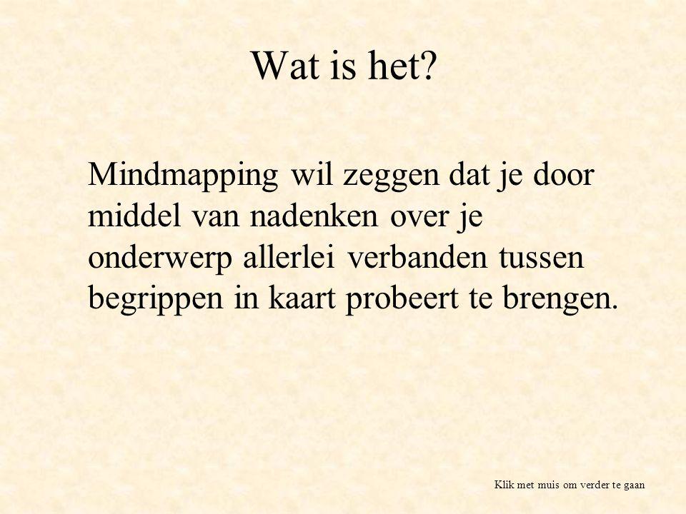 Wat is het? Mindmapping wil zeggen dat je door middel van nadenken over je onderwerp allerlei verbanden tussen begrippen in kaart probeert te brengen.