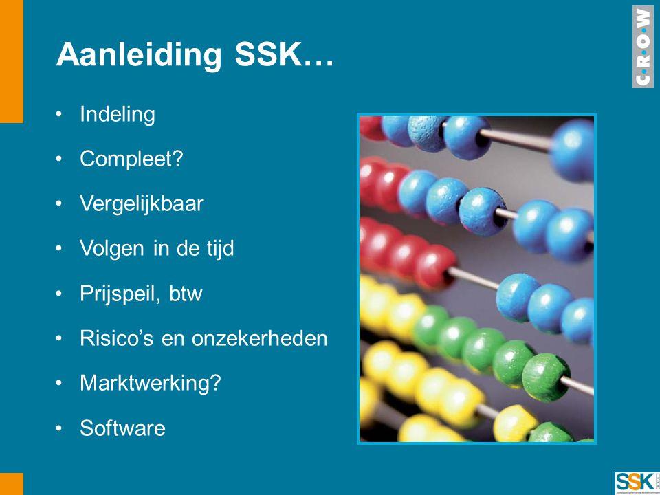Aanleiding SSK… •Indeling •Compleet? •Vergelijkbaar •Volgen in de tijd •Prijspeil, btw •Risico's en onzekerheden •Marktwerking? •Software