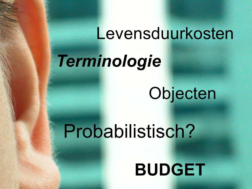 Terminologie Probabilistisch? Levensduurkosten Objecten BUDGET