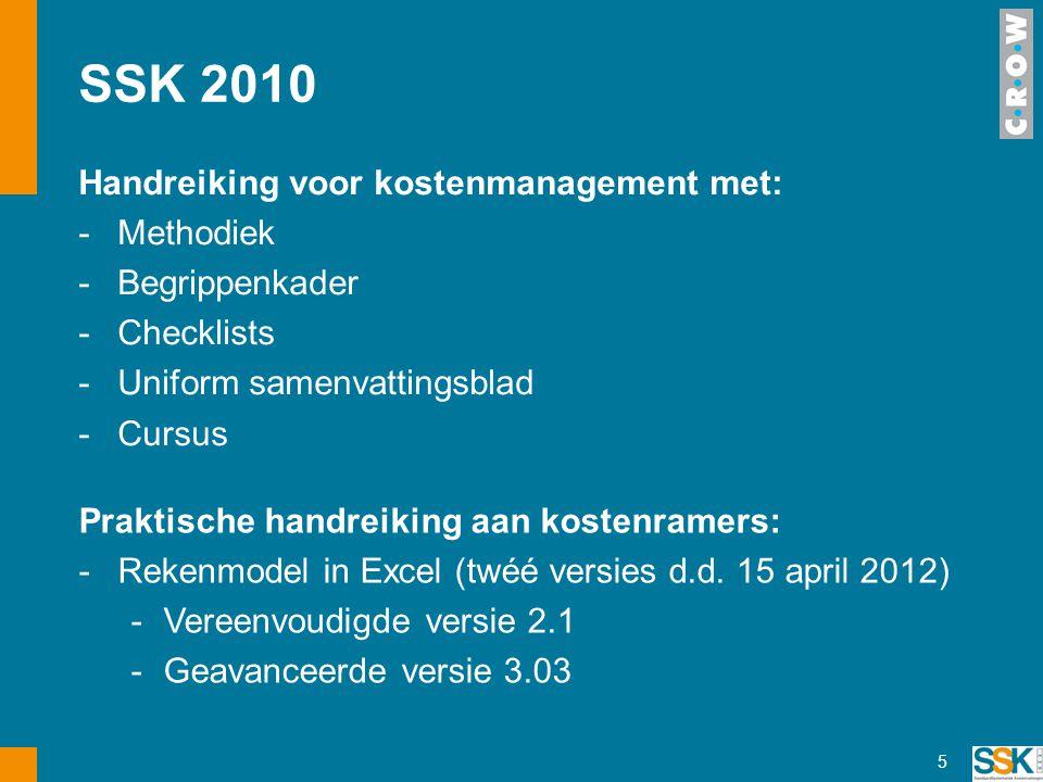 SSK 2010 Handreiking voor kostenmanagement met: -Methodiek -Begrippenkader -Checklists -Uniform samenvattingsblad -Cursus 5 Praktische handreiking aan