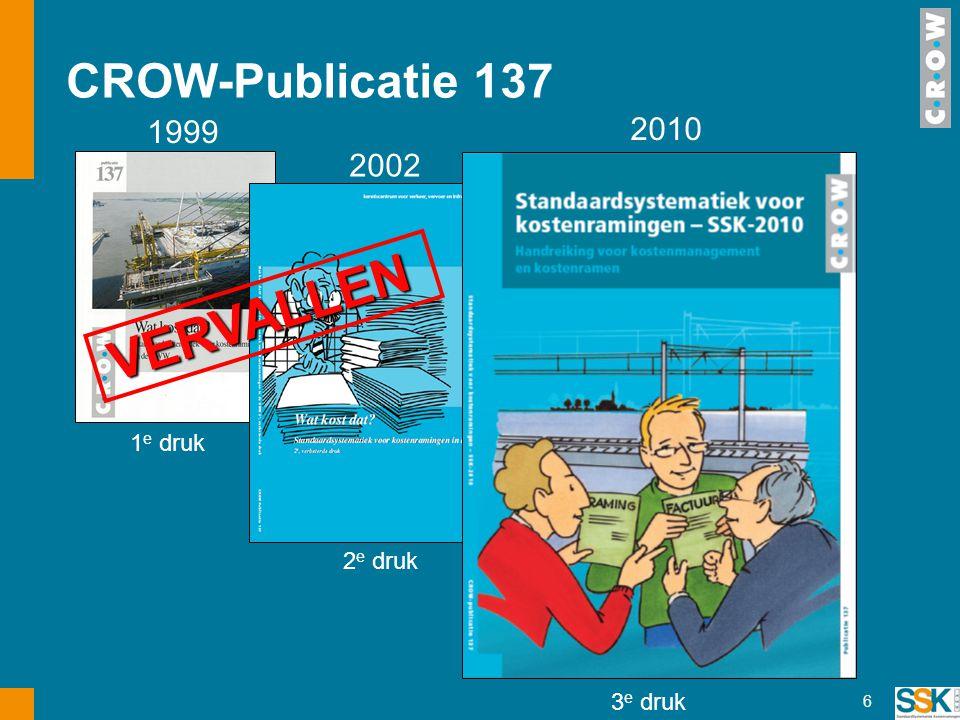 6 1999 1 e druk 2002 2 e druk 2010 3 e druk VERVALLEN VERVALLEN CROW-Publicatie 137