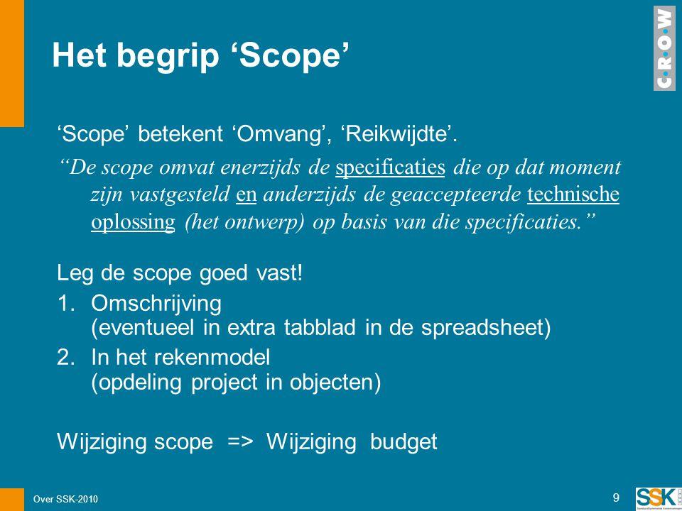 """Over SSK-2010 9 Het begrip 'Scope' 'Scope' betekent 'Omvang', 'Reikwijdte'. """"De scope omvat enerzijds de specificaties die op dat moment zijn vastgest"""