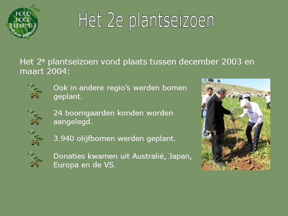 Het 3 e plantseizoen vond plaats tussen december 2004 en maart 2005: Nog meer regio's konden worden bereikt.