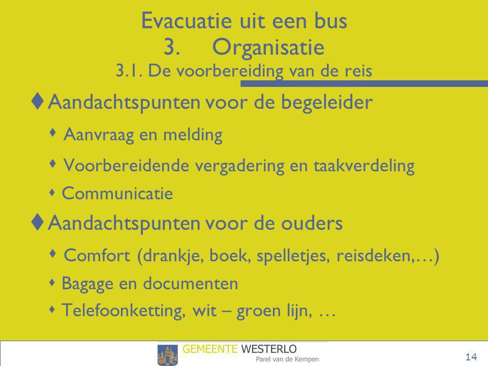 14 Evacuatie uit een bus 3.Organisatie 3.1. De voorbereiding van de reis  Aandachtspunten voor de begeleider  Aanvraag en melding  Voorbereidende v