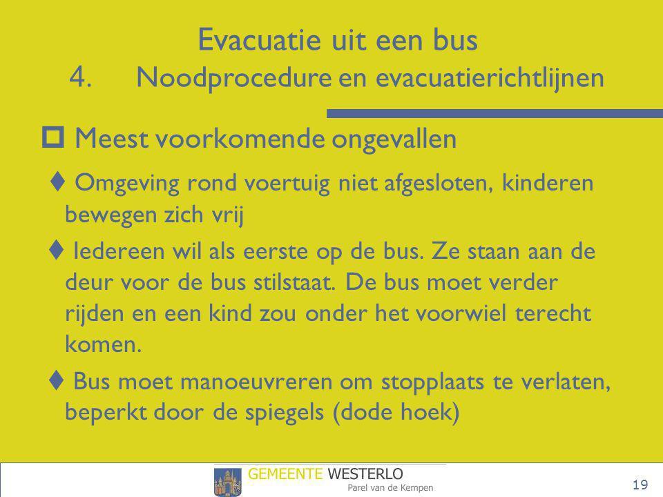 19  Meest voorkomende ongevallen  Omgeving rond voertuig niet afgesloten, kinderen bewegen zich vrij  Iedereen wil als eerste op de bus. Ze staan a