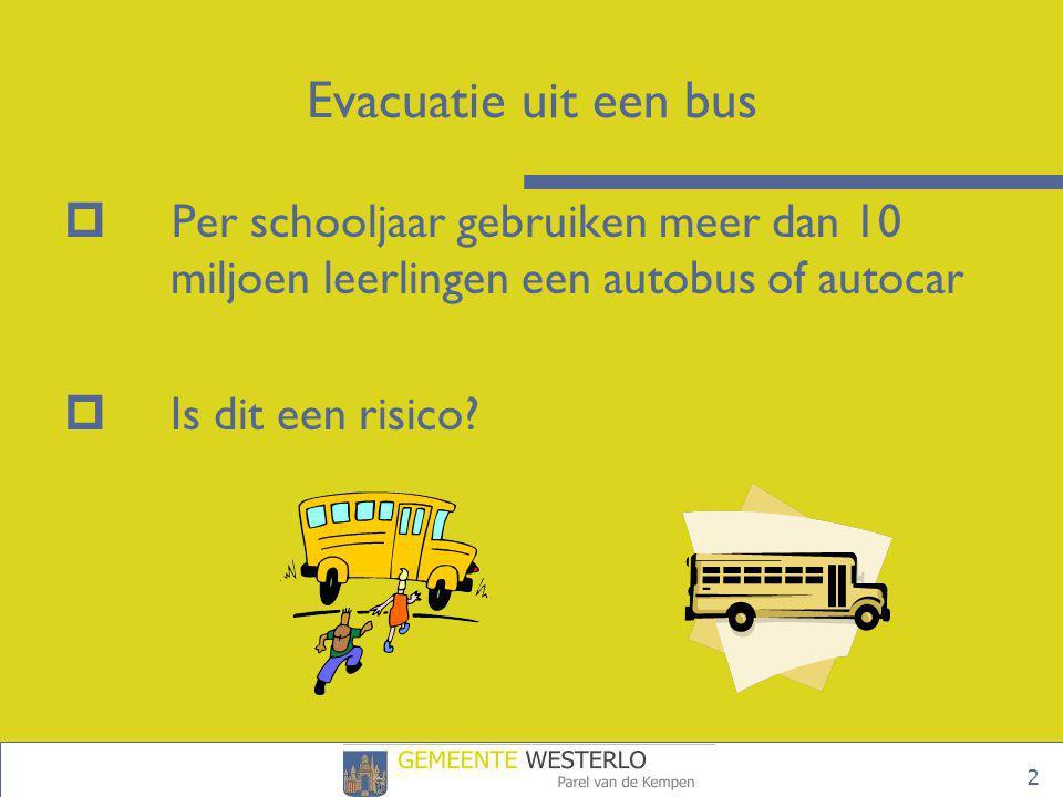 3 Evacuatie uit een bus  Wettelijke bepalingen  Risico-inventarisatie en risico-evaluatie  Organisatie  Voorbereiding  Vertrek  Traject  Noodprocedure en evacuatierichtlijnen  Evacuatieoefeningen in de praktijk
