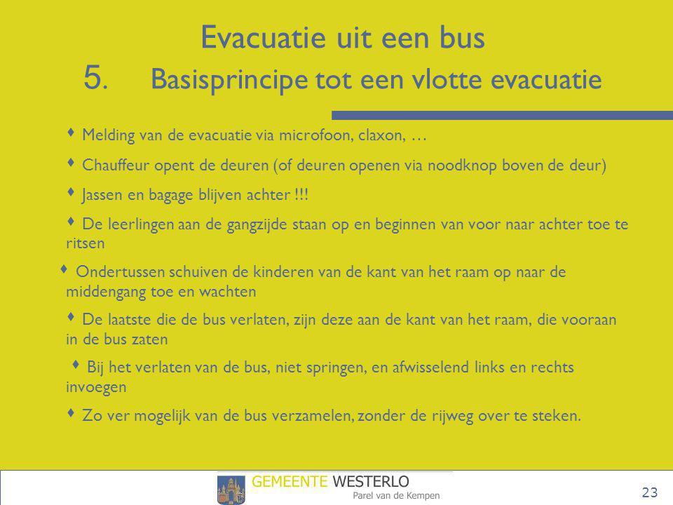 23  Melding van de evacuatie via microfoon, claxon, …  Chauffeur opent de deuren (of deuren openen via noodknop boven de deur)  Jassen en bagage bl