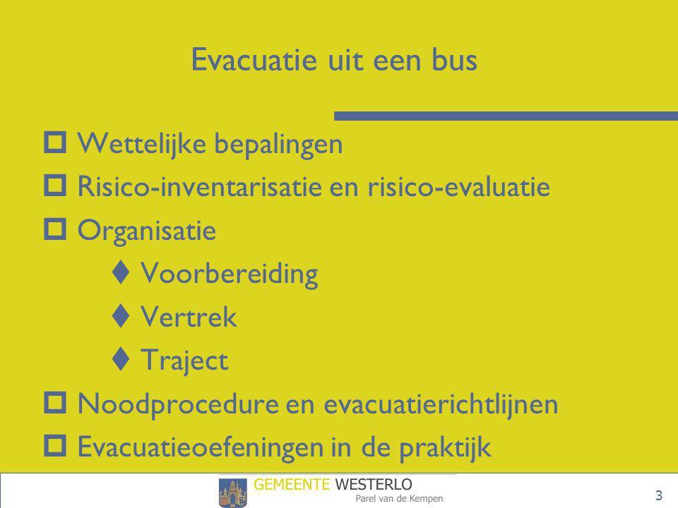 3 Evacuatie uit een bus  Wettelijke bepalingen  Risico-inventarisatie en risico-evaluatie  Organisatie  Voorbereiding  Vertrek  Traject  Noodpr