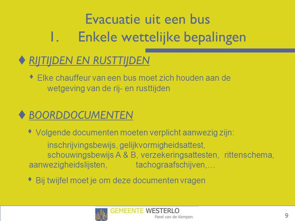 10 Evacuatie uit een bus 1.Enkele wettelijke bepalingen  TECHNISCHE VEREISTEN  Veiligheidsgordels • verplicht in alle autocars • verplicht te dragen • meldingsplicht met pictogram