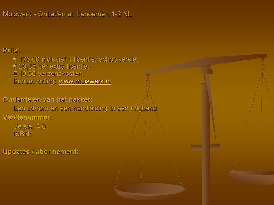 Muiswerk - Ontleden en benoemen 1-2 NL Prijs: € 176,00 inclusief 1 licentie, schoolversie. € 20,35 per extra licentie. € 10,00 verzendkosten. Bundelko