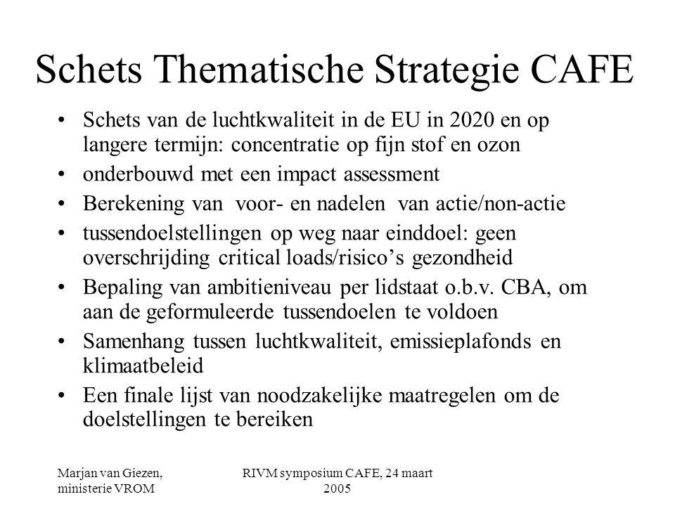 Marjan van Giezen, ministerie VROM RIVM symposium CAFE, 24 maart 2005 Mogelijke maatregelen CAFE/Air Quality •Stroomlijning en herziening van EU- luchtkwaliteitswetgeving: samenvoeging 1e/2e/3e Dochterrichtlijnen Luchtkwaliteit •Herziening van de NEC-richtlijn: op basis van ambities en doelstellingen CAFE •Aanscherping auto-emissie-eisen (Euro-normen) •Emissie-eisen kleine stookinstallaties: IPPC.
