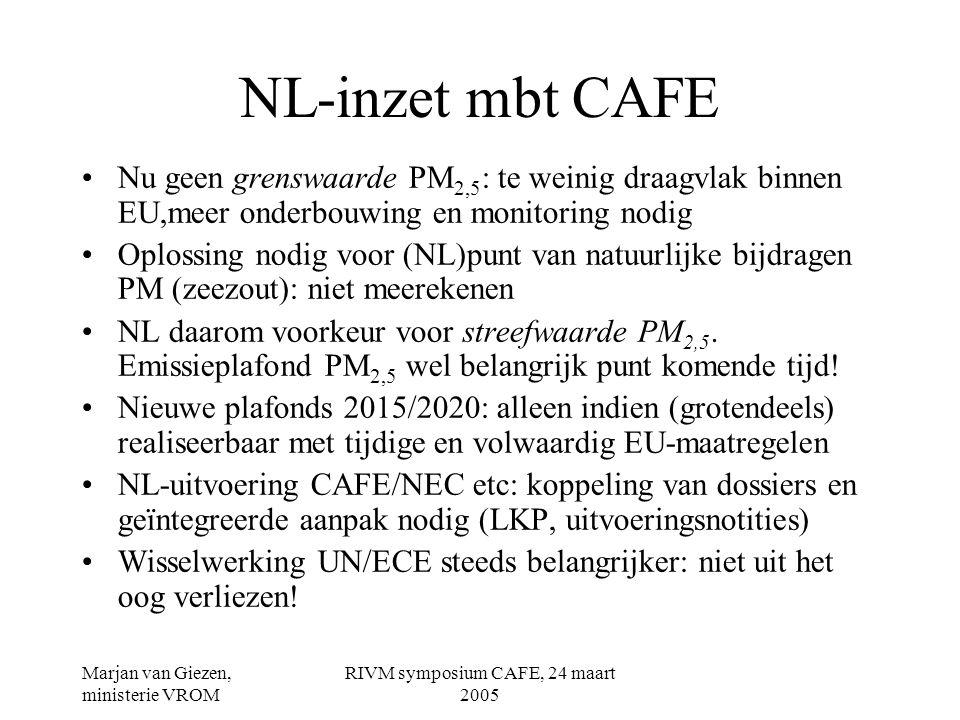 Marjan van Giezen, ministerie VROM RIVM symposium CAFE, 24 maart 2005 NL-inzet mbt CAFE •Nu geen grenswaarde PM 2,5 : te weinig draagvlak binnen EU,meer onderbouwing en monitoring nodig •Oplossing nodig voor (NL)punt van natuurlijke bijdragen PM (zeezout): niet meerekenen •NL daarom voorkeur voor streefwaarde PM 2,5.