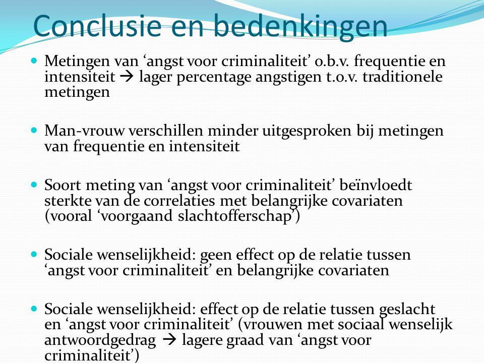 Conclusie en bedenkingen  Metingen van 'angst voor criminaliteit' o.b.v. frequentie en intensiteit  lager percentage angstigen t.o.v. traditionele m
