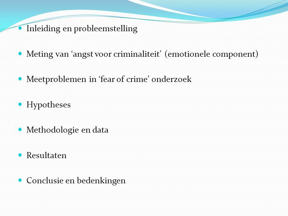  Inleiding en probleemstelling  Meting van 'angst voor criminaliteit' (emotionele component)  Meetproblemen in 'fear of crime' onderzoek  Hypotheses  Methodologie en data  Resultaten  Conclusie en bedenkingen