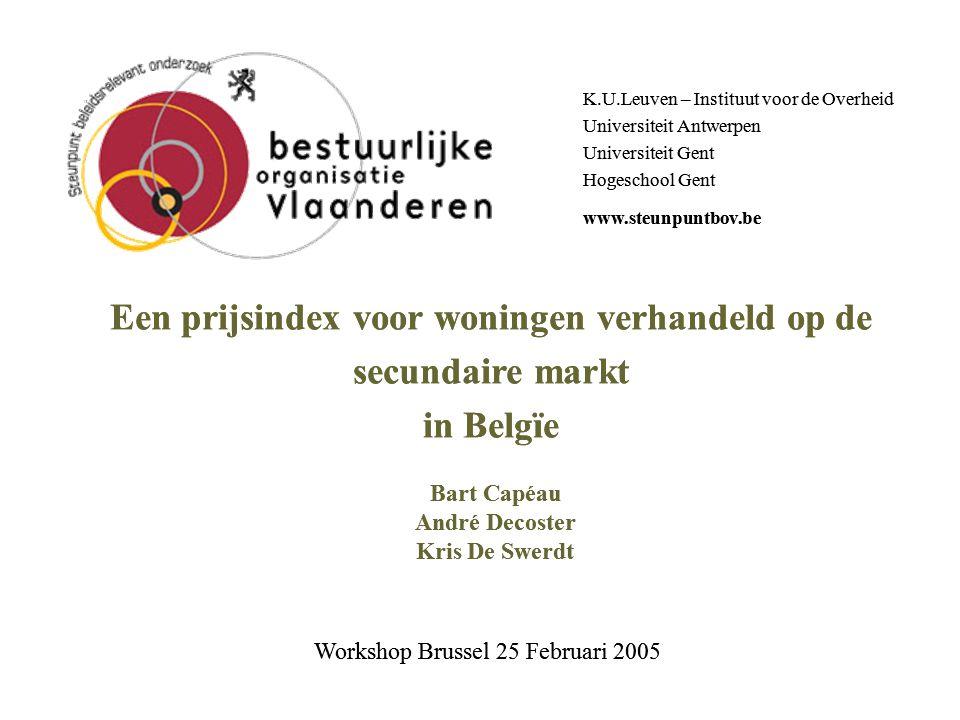 Spoor Fiscaliteit Leuven – Workshop 25 februari 2005: Prijsindex 2 Onderwerp