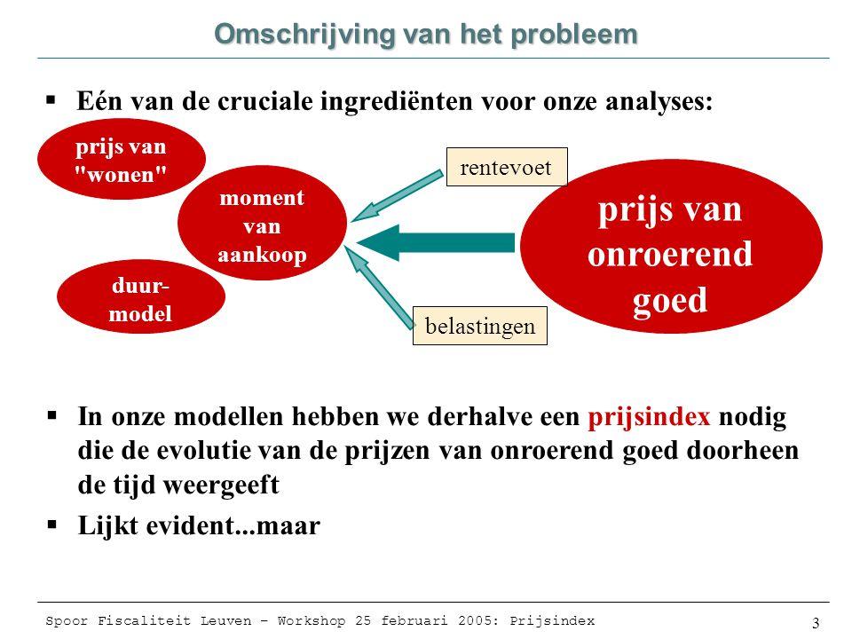 Spoor Fiscaliteit Leuven – Workshop 25 februari 2005: Prijsindex 4 Omschrijving van het probleem  Vaak (meestal) wordt aangenomen dat we hiervan een beeld krijgen via de geregistreerde verkoopwaarden van onroerende goederen (bvb.