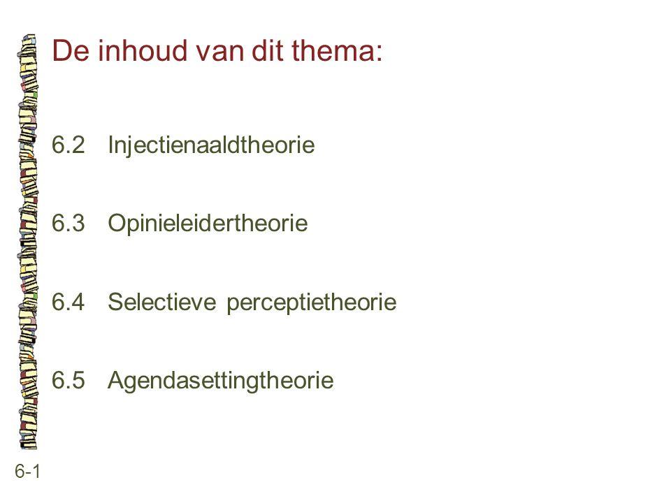 De inhoud van dit thema: 6-1 6.2 Injectienaaldtheorie 6.3 Opinieleidertheorie 6.4 Selectieve perceptietheorie 6.5 Agendasettingtheorie