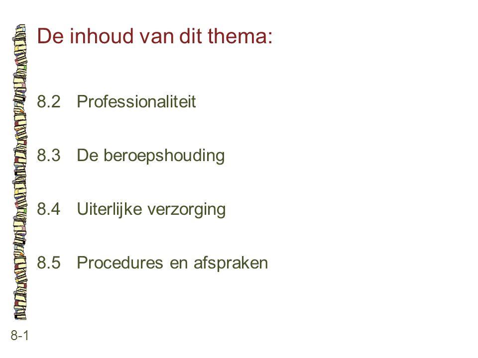 De inhoud van dit thema: 8-1 8.2Professionaliteit 8.3 De beroepshouding 8.4 Uiterlijke verzorging 8.5 Procedures en afspraken