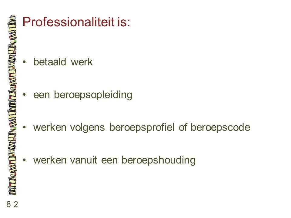 Professionaliteit is: 8-2 •betaald werk •een beroepsopleiding •werken volgens beroepsprofiel of beroepscode •werken vanuit een beroepshouding