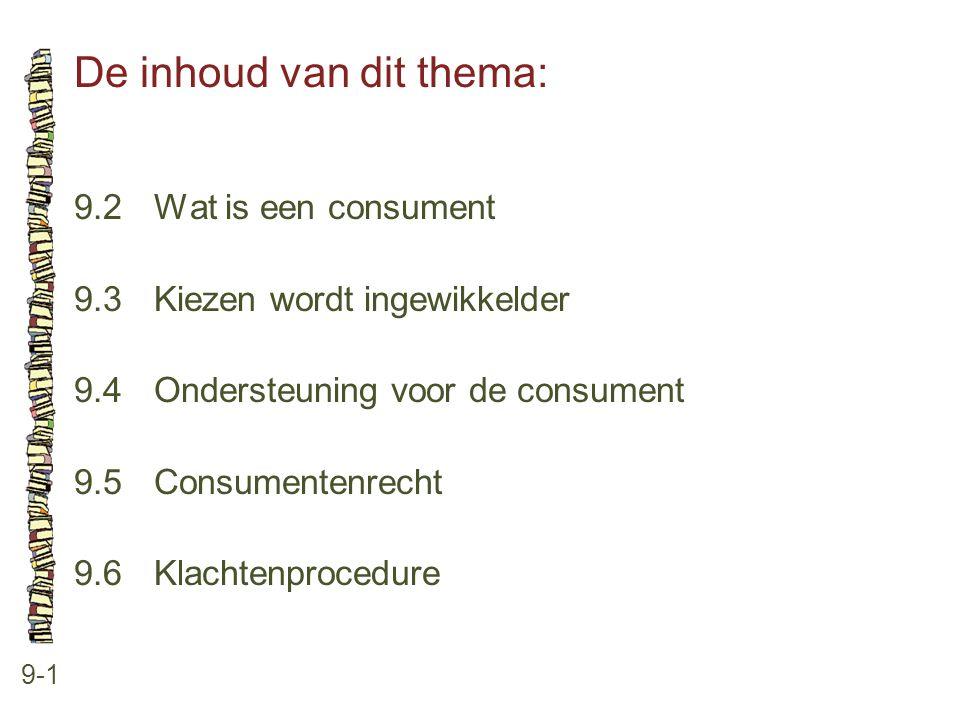 De inhoud van dit thema: 9-1 9.2 Wat is een consument 9.3 Kiezen wordt ingewikkelder 9.4 Ondersteuning voor de consument 9.5 Consumentenrecht 9.6 Klachtenprocedure