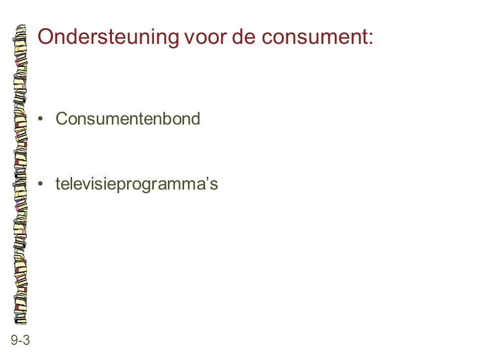 Ondersteuning voor de consument: 9-3 •Consumentenbond •televisieprogramma's