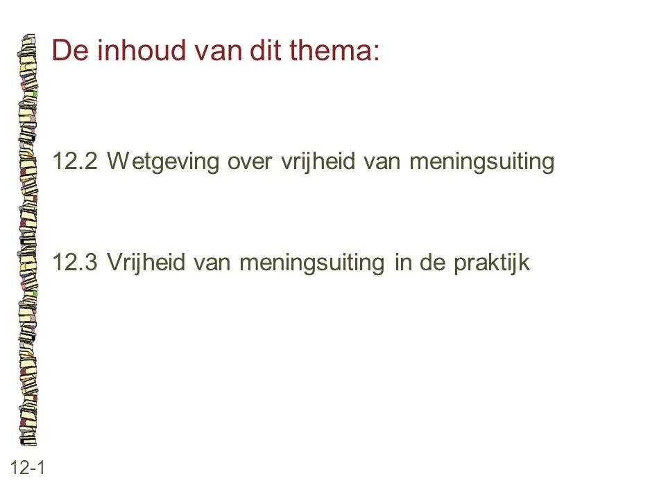 De inhoud van dit thema: 12-1 12.2Wetgeving over vrijheid van meningsuiting 12.3Vrijheid van meningsuiting in de praktijk