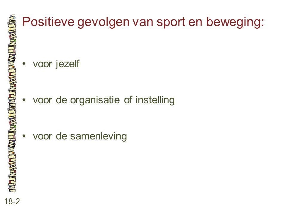 Positieve gevolgen van sport en beweging: 18-2 •voor jezelf •voor de organisatie of instelling •voor de samenleving