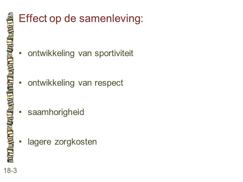 Effect op de samenleving: 18-3 •ontwikkeling van sportiviteit •ontwikkeling van respect •saamhorigheid •lagere zorgkosten