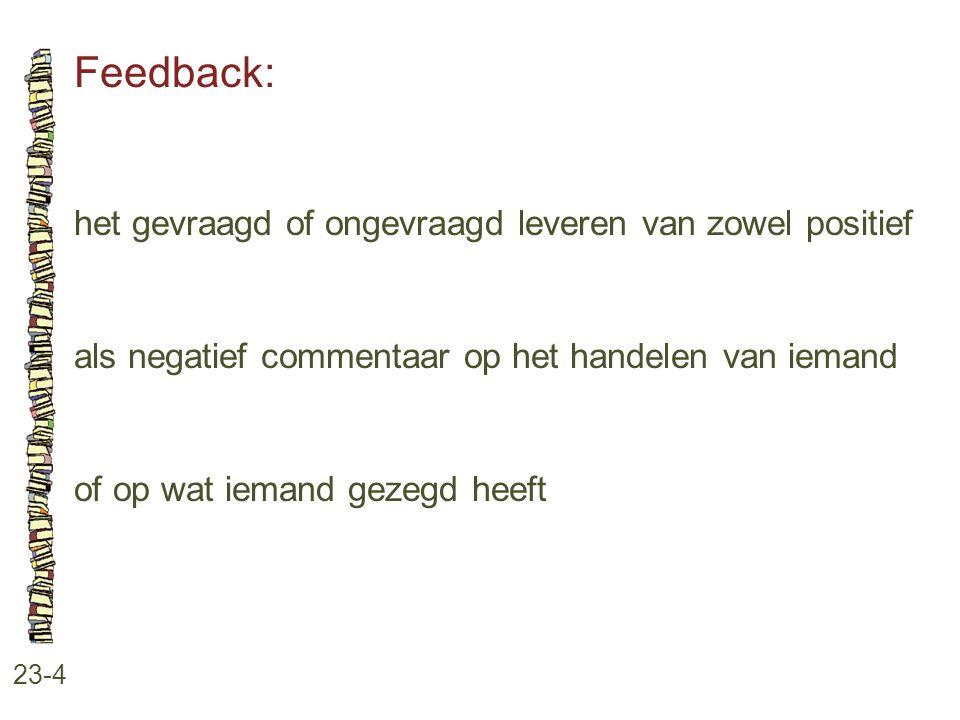 Feedback: 23-4 het gevraagd of ongevraagd leveren van zowel positief als negatief commentaar op het handelen van iemand of op wat iemand gezegd heeft