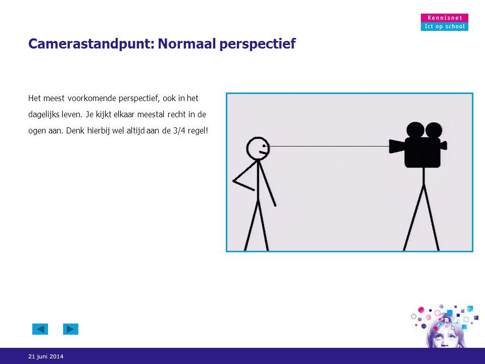 21 juni 2014 Camerastandpunt: Normaal perspectief Het meest voorkomende perspectief, ook in het dagelijks leven. Je kijkt elkaar meestal recht in de o
