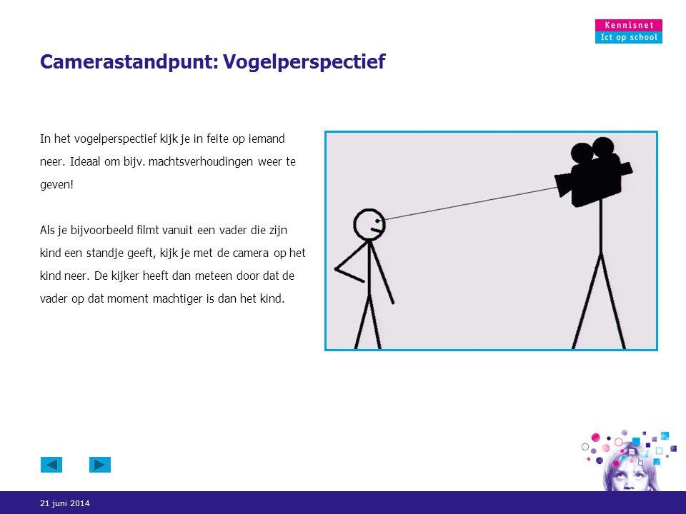 21 juni 2014 Camerastandpunt: Vogelperspectief In het vogelperspectief kijk je in feite op iemand neer. Ideaal om bijv. machtsverhoudingen weer te gev