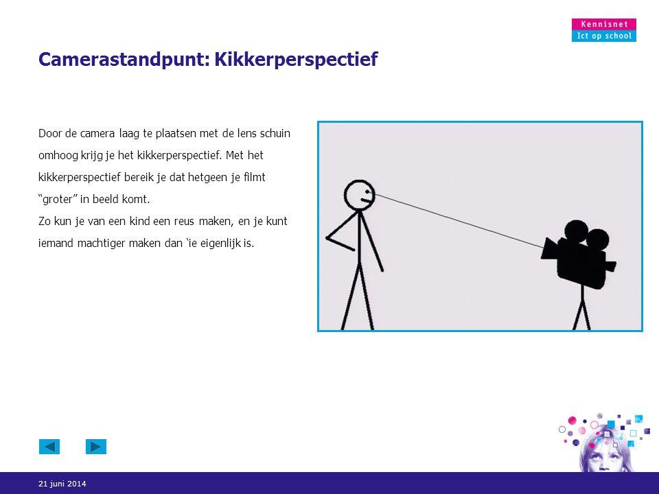 21 juni 2014 Camerastandpunt: Kikkerperspectief Door de camera laag te plaatsen met de lens schuin omhoog krijg je het kikkerperspectief. Met het kikk