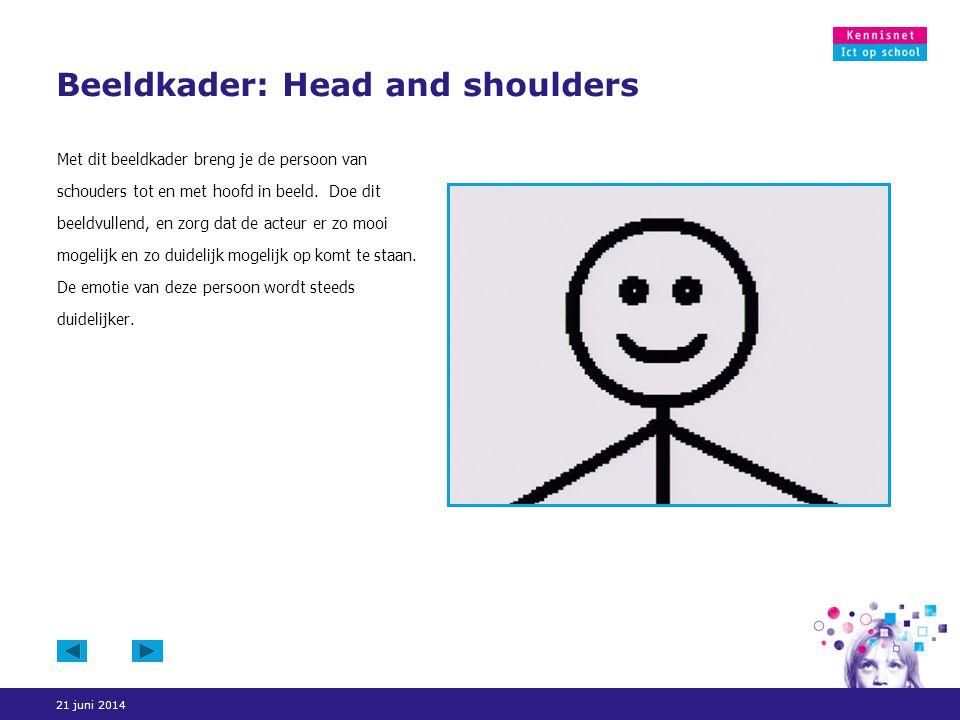 21 juni 2014 Beeldkader: Head and shoulders Met dit beeldkader breng je de persoon van schouders tot en met hoofd in beeld. Doe dit beeldvullend, en z