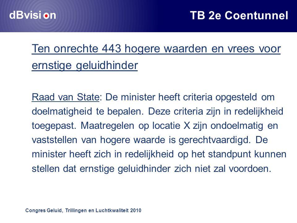 dBvisi n Congres Geluid, Trillingen en Luchtkwaliteit 2010 TB 2e Coentunnel Ten onrechte 443 hogere waarden en vrees voor ernstige geluidhinder Raad van State: De minister heeft criteria opgesteld om doelmatigheid te bepalen.