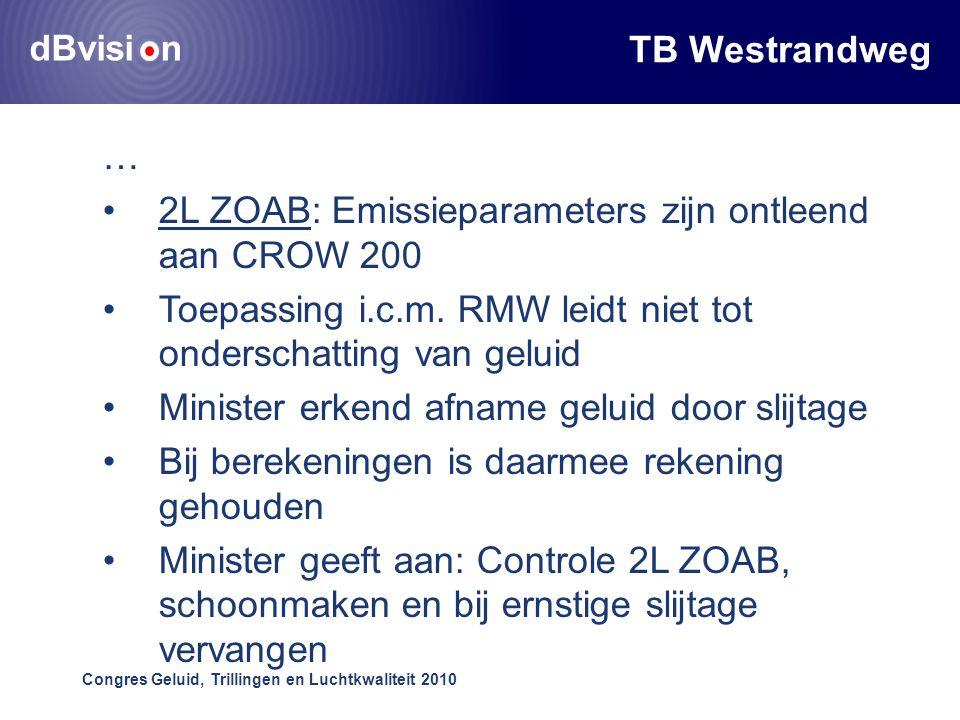 dBvisi n Congres Geluid, Trillingen en Luchtkwaliteit 2010 TB Westrandweg … •2L ZOAB: Emissieparameters zijn ontleend aan CROW 200 •Toepassing i.c.m.