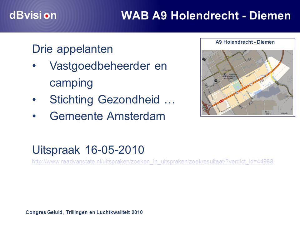 dBvisi n Congres Geluid, Trillingen en Luchtkwaliteit 2010 WAB A9 Holendrecht - Diemen Drie appelanten •Vastgoedbeheerder en camping •Stichting Gezondheid … •Gemeente Amsterdam Uitspraak 16-05-2010 http://www.raadvanstate.nl/uitspraken/zoeken_in_uitspraken/zoekresultaat/ verdict_id=44988 A9 Holendrecht - Diemen