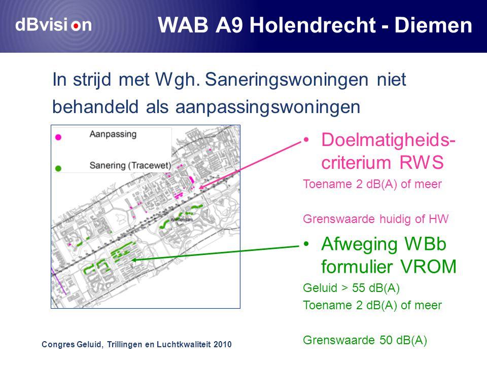 dBvisi n Congres Geluid, Trillingen en Luchtkwaliteit 2010 WAB A9 Holendrecht - Diemen In strijd met Wgh.