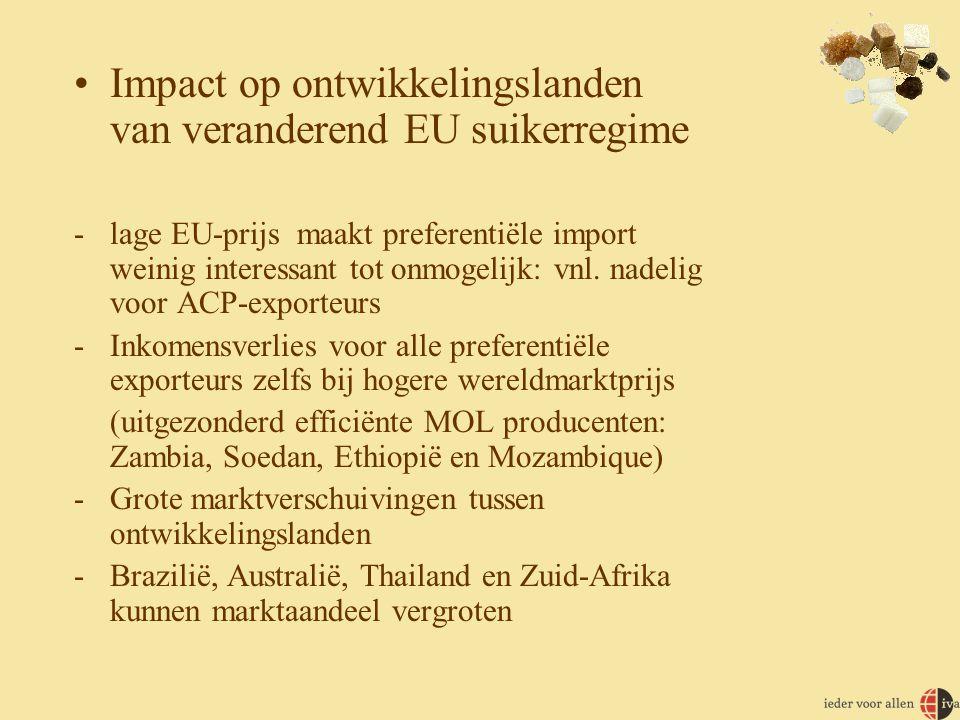 •Impact op ontwikkelingslanden van veranderend EU suikerregime -lage EU-prijs maakt preferentiële import weinig interessant tot onmogelijk: vnl.