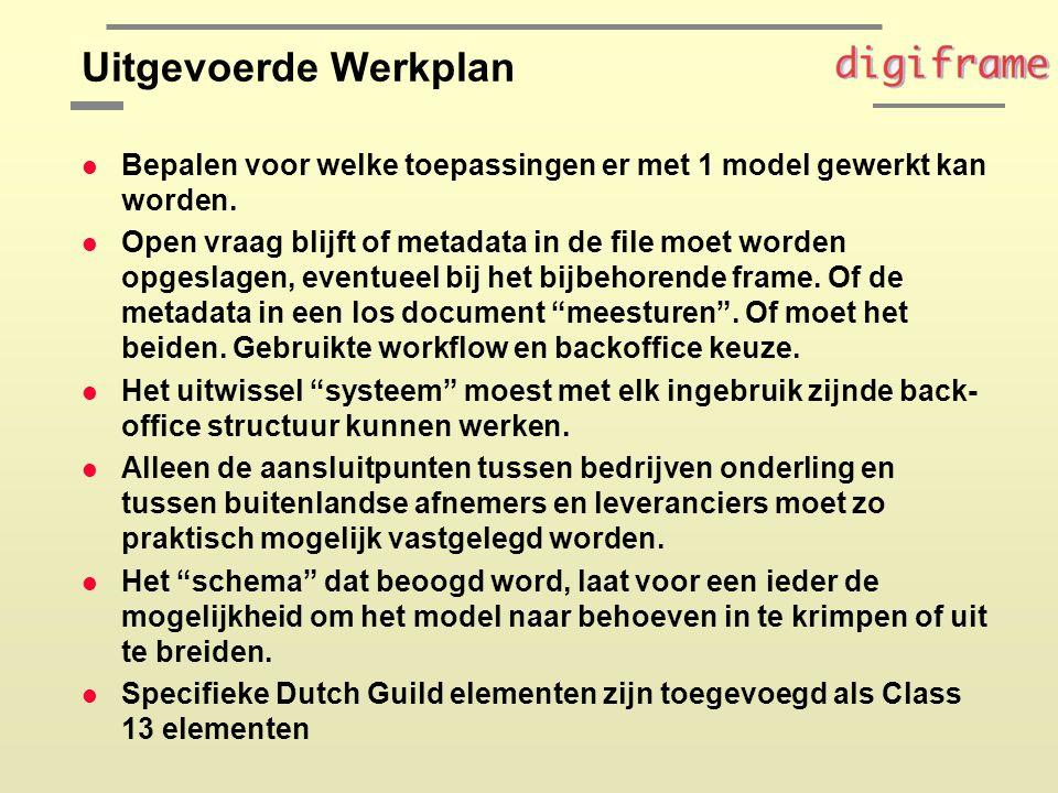 Uitgevoerde Werkplan l Bepalen voor welke toepassingen er met 1 model gewerkt kan worden.