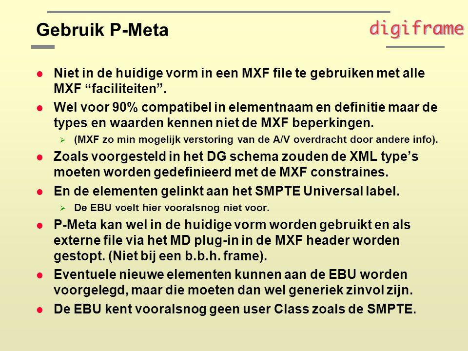 Gebruik P-Meta l Niet in de huidige vorm in een MXF file te gebruiken met alle MXF faciliteiten .