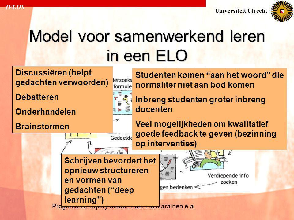 IVLOS Universiteit Utrecht Model voor samenwerkend leren in een ELO Progressive Inquiry Model, naar Hakkarainen e.a. Discussiëren (helpt gedachten ver