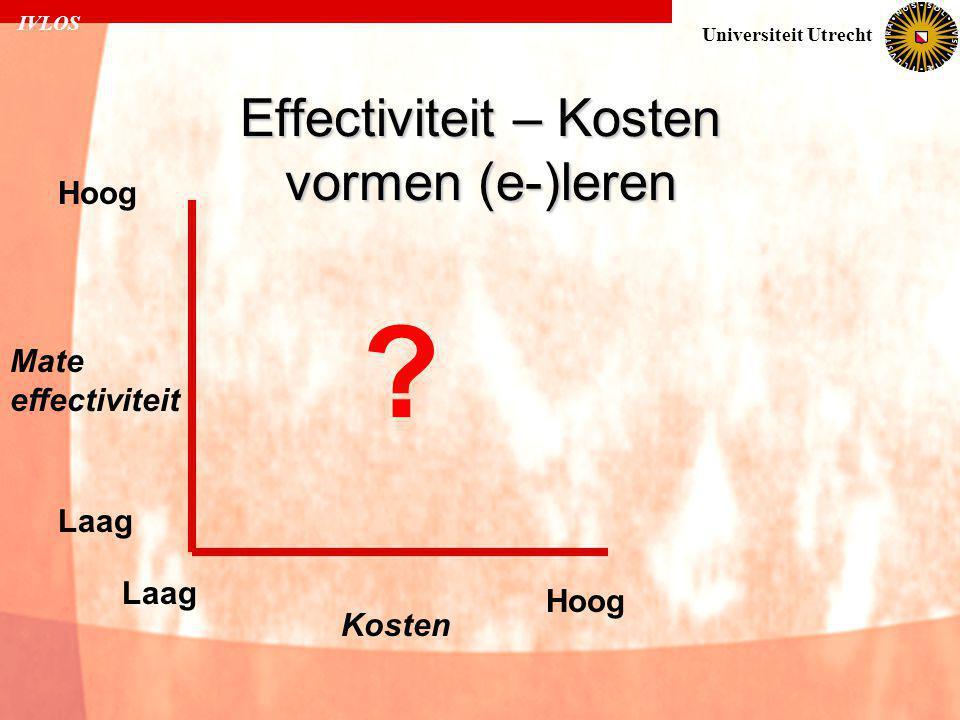 IVLOS Universiteit Utrecht Effectiviteit – Kosten vormen (e-)leren Laag Hoog Laag Hoog Kosten Mate effectiviteit