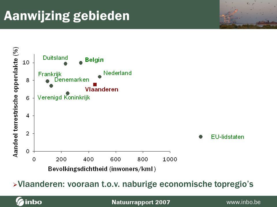 Aanwijzing gebieden  EU-25: 12,2 %; België: 18de; Vlaanderen: 23ste